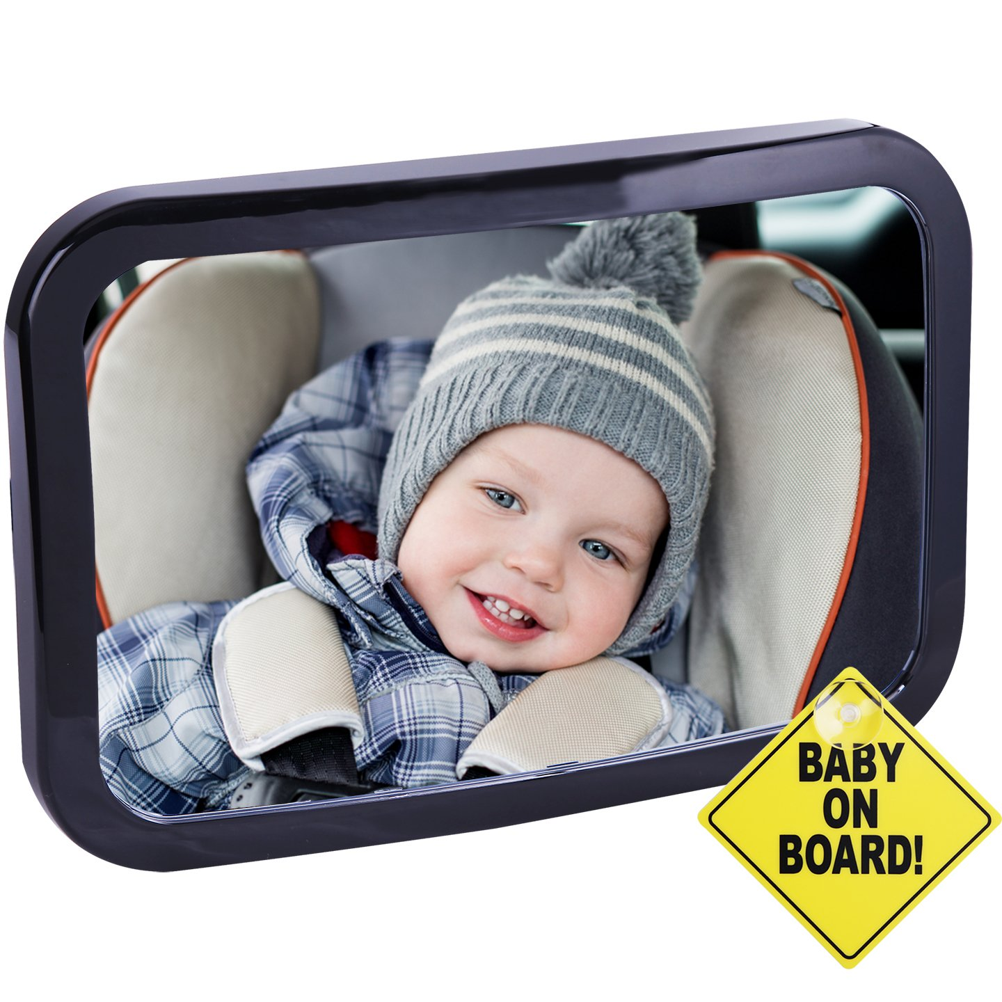 CARTMAN Baby Car Mirror 360 Adjustable & Double Straps with Baby on Board Sign by CARTMAN