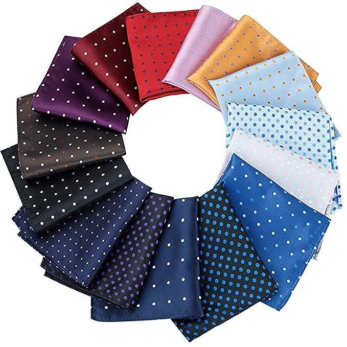 15 Pcs Assorted Colors Dot Pattern Pocket squares for Men best pocket squares