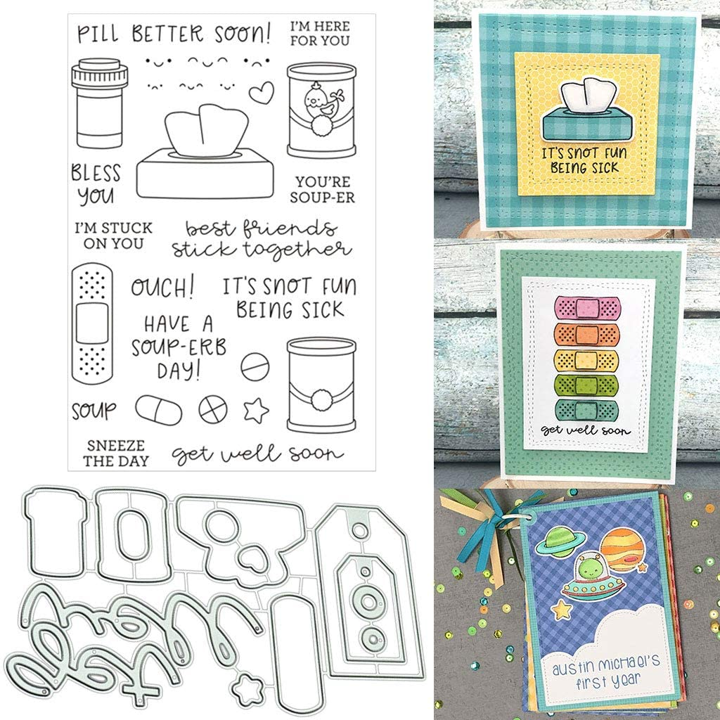 Sick Silicone Clear Stamp and Die Sets for Card Making, DIY Embossing Photo Album Decorative Craft
