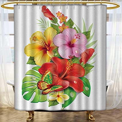 Anhounine Hawaiian Shower Curtains Digital Printing Bouquet Of Colorful Hibiscus Flowers With A Butterfly Blooming Plumeria