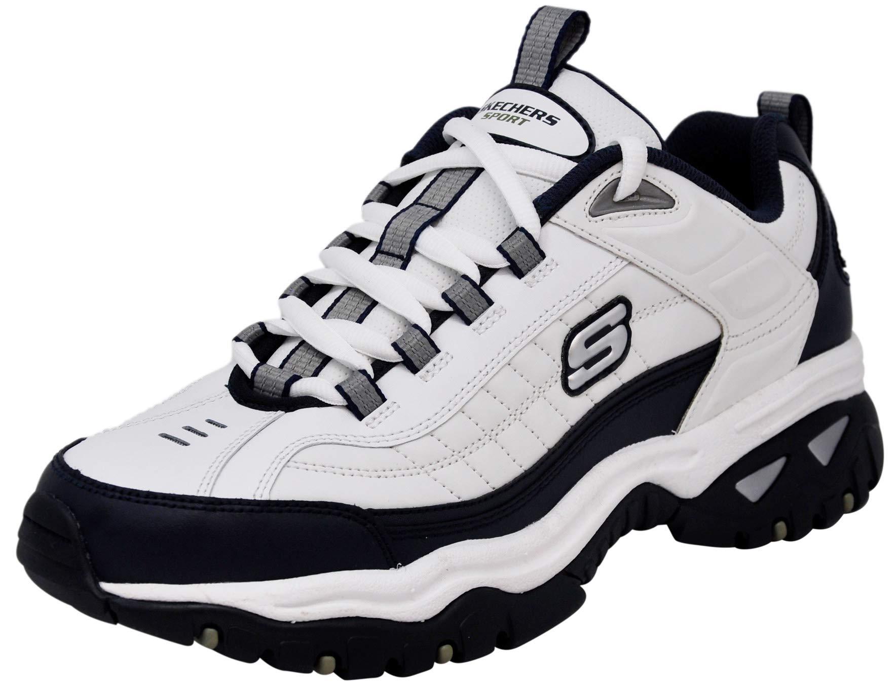 Skechers Men's Energy Afterburn Lace-Up Sneaker, White/Navy Blue, 10 M US