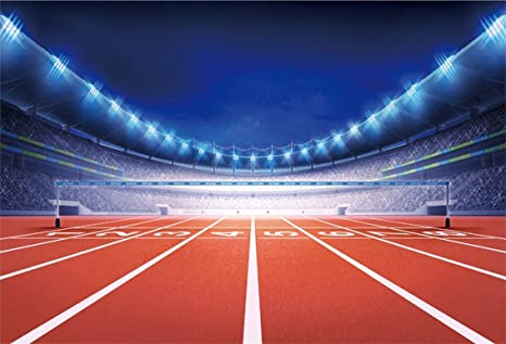 Csfoto 7x5ft Background For Athletics Stadium With Race Track Finish View Photography Backdrop Sport Glowing Light Match Competition Illuminated Field