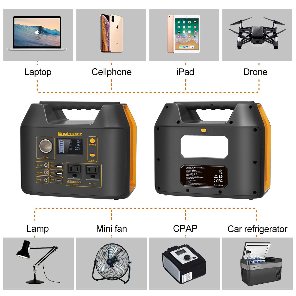Solar Panel Not Included Enginstar Portable Power Station 298Wh 110V//300W Outdoors Solar Generator for Laptops Cellphones Drones and More Electronics Backup Camping Lithium Battery Pack