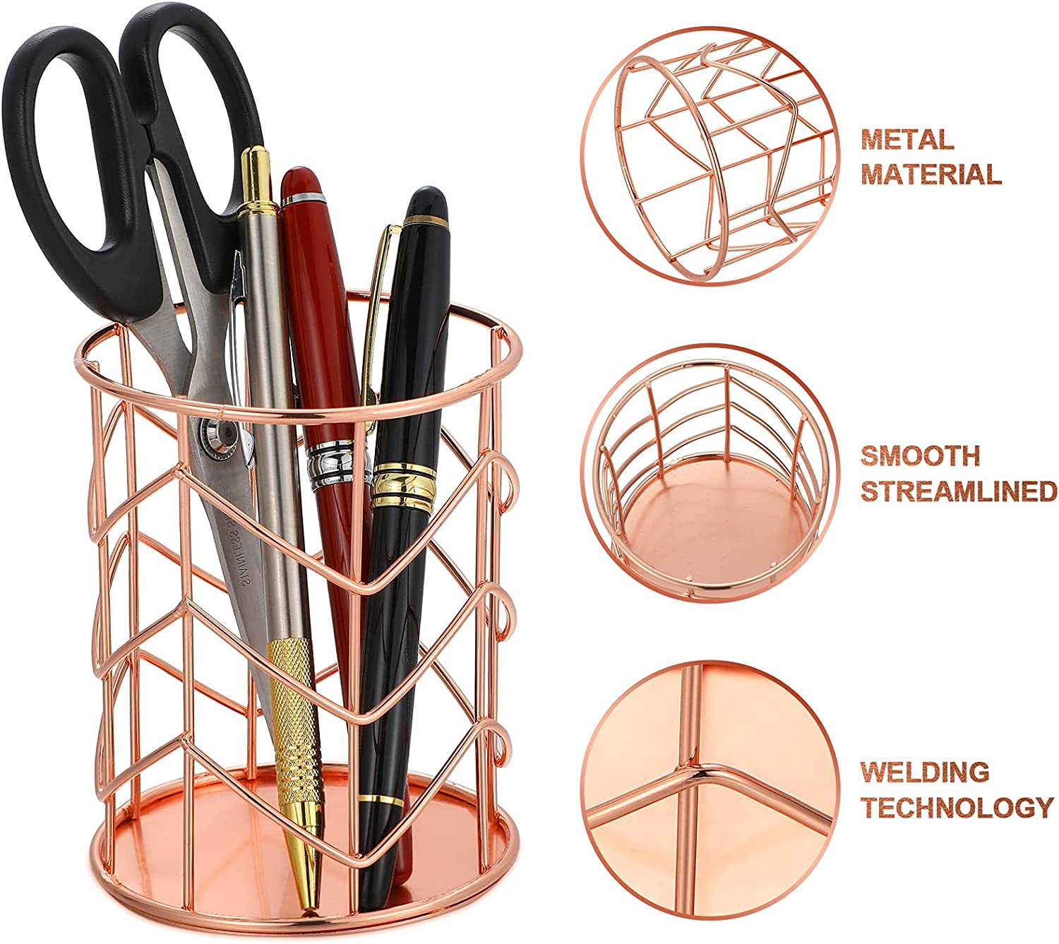 Rose Gold Office School Home Organizer Accessories Pencil Holder Paper Clip Dispenser Holder Magnetic Round Paper Clip Holder with Wire Metal Pencil Cup and 100 Pieces 28 mm Light Paper Clips
