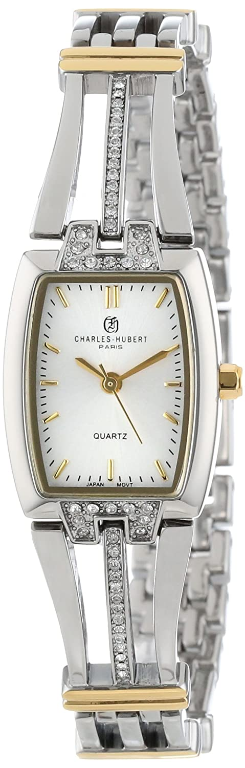 Charles-Hubert Paris Damen 6824-T Classic Collection Two-Tone Silver Dial Armbanduhr