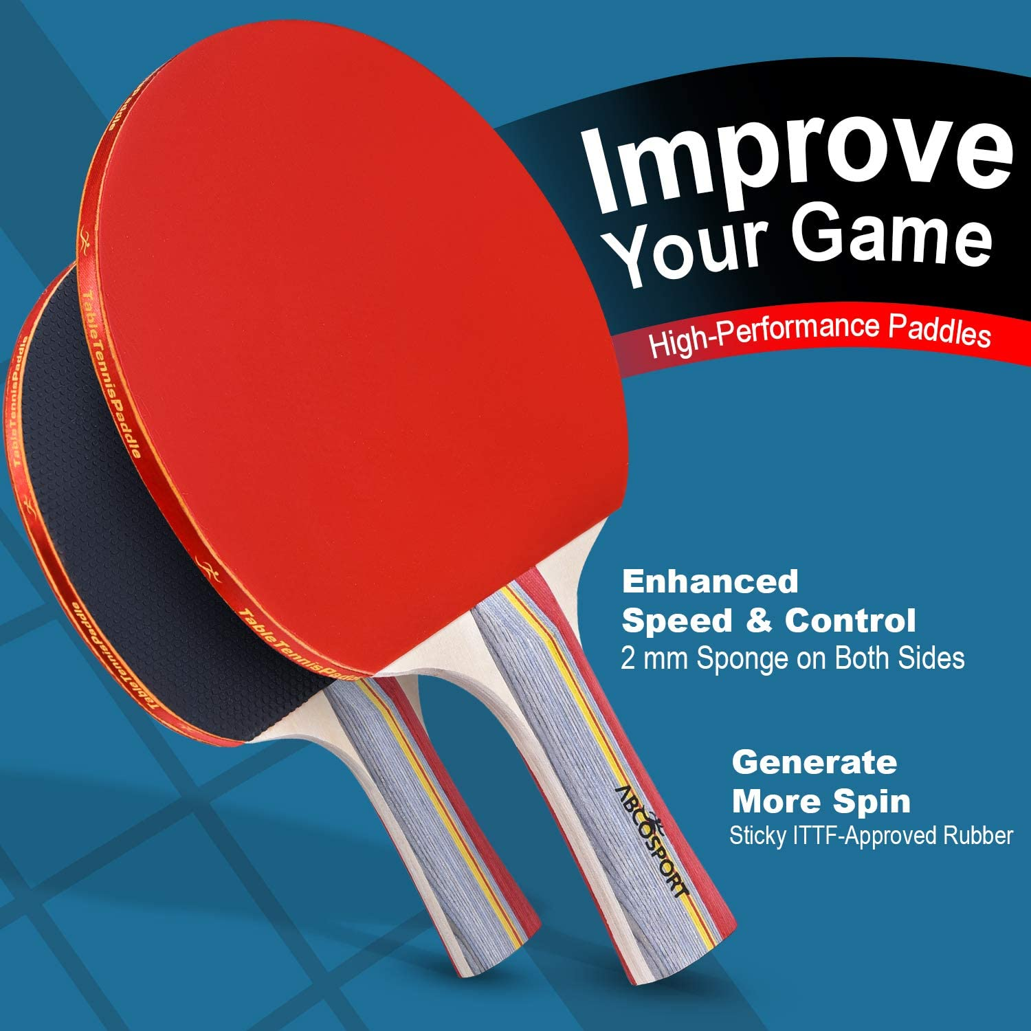 Abco Tech Ping Pong Paddle & Table Tennis Set - Pack of 4 Premium Rackets and 6 Table Tennis Balls - Soft Sponge Rubber - Ideal for Professional and Recreational Games - 2 or 4 Players : Sports & Outdoors