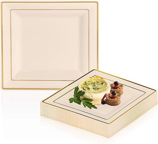 Amazon.com: Elegante juego de platos de plástico desechables ...