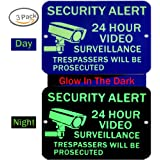 Video Surveillance Sign Glow - No Trespassing Signs - Home & Business Security Stickers Self-Adhesive Decal - Security Alert 0.40 Aluminum - 3 Pack