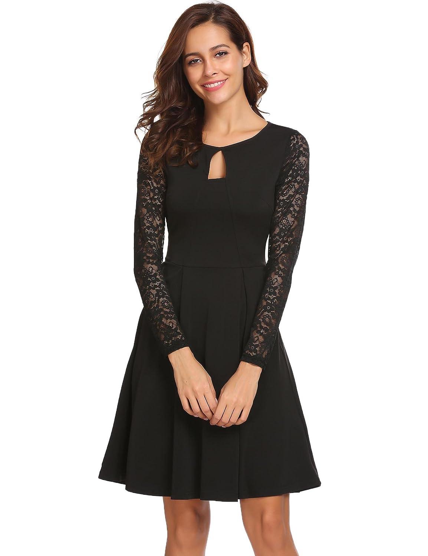 Meaneor Damen Elegant kleid mit Spitze Cocktailkleid Ballkleid ...