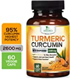 Turmeric Curcumin with Bioperine 95% Curcuminoids 2600mg with Black Pepper for Best Absorption, Made in USA, Best Vegan Joint Support, Turmeric Supplement Pills by Natures Nutrition - 60 Capsules