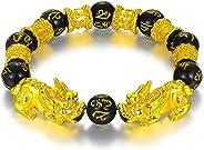 WAINIS Feng Shui PiXiu/Pi Yao Bracelet Black Obsidian Attract Wealth Jewelry for Men Women Chinese Dragon Good Luck 12mm Han