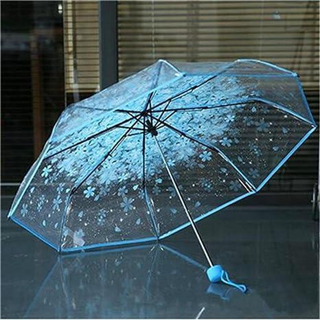 2018 tres veces mujer paraguas Transparente Seta Flor de Cerezo Sakura Apollo sombrilla plegable paraguas lluvia