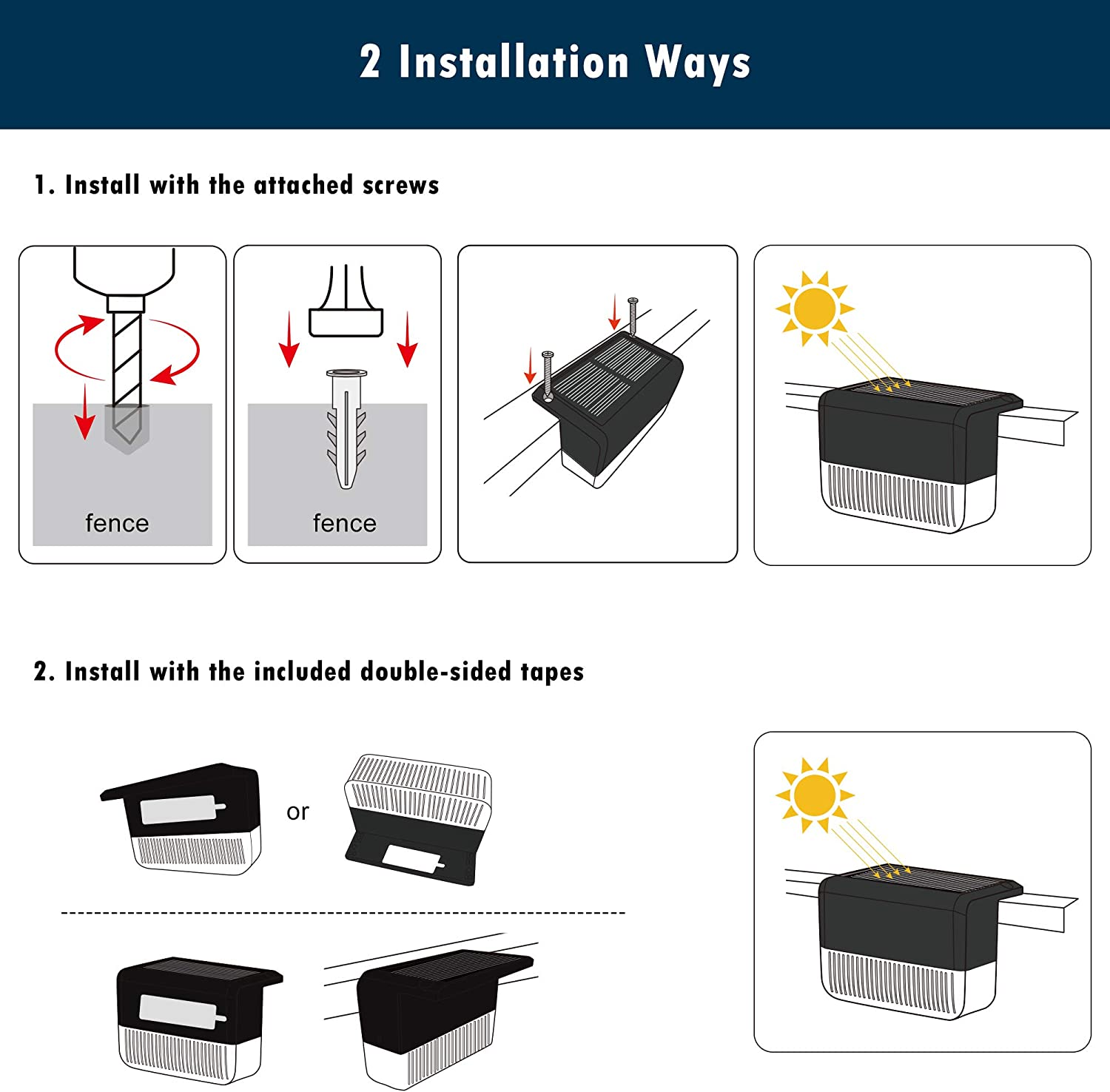 Pathway Patio Stair Black, 6 Pack Railing Warm White//Color Changing Lighting Yard Solar Deck Lights JACKYLED Solar Step Lights Outdoor Waterproof LED Solar Fence Lights for Garden 12 Lumens