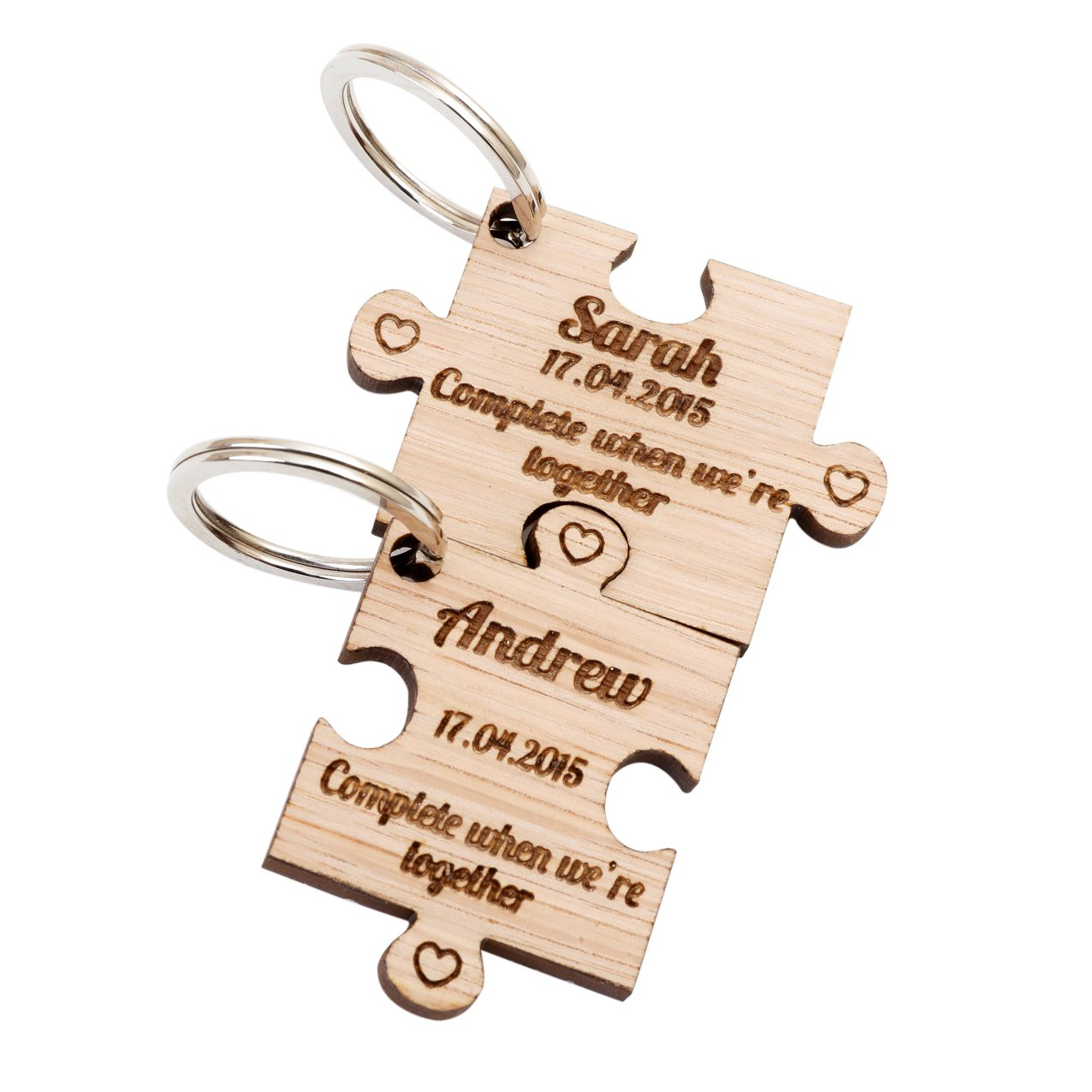 2 x Personalised Jigsaw Puzzle Piece Wooden Keyrings Each Engraved with a Name /& Date