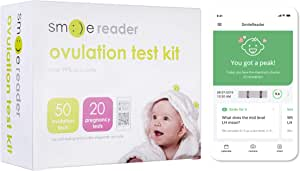 SmileReader Combo Kit of 50 Ovulation Tests and 20 Pregnancy Tests, Free Tracker app, OPKs, HPTs (50 LH + 20 HCG)