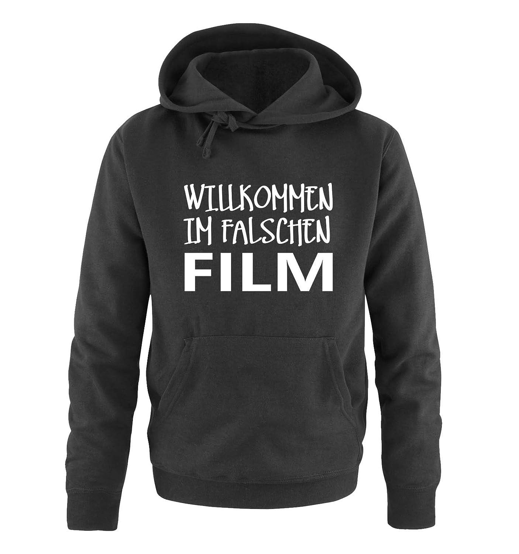 Langarm Print-Pulli Willkommen im falschen Film K/ängurutasche Kapuze Comedy Shirts Herren Hoodie
