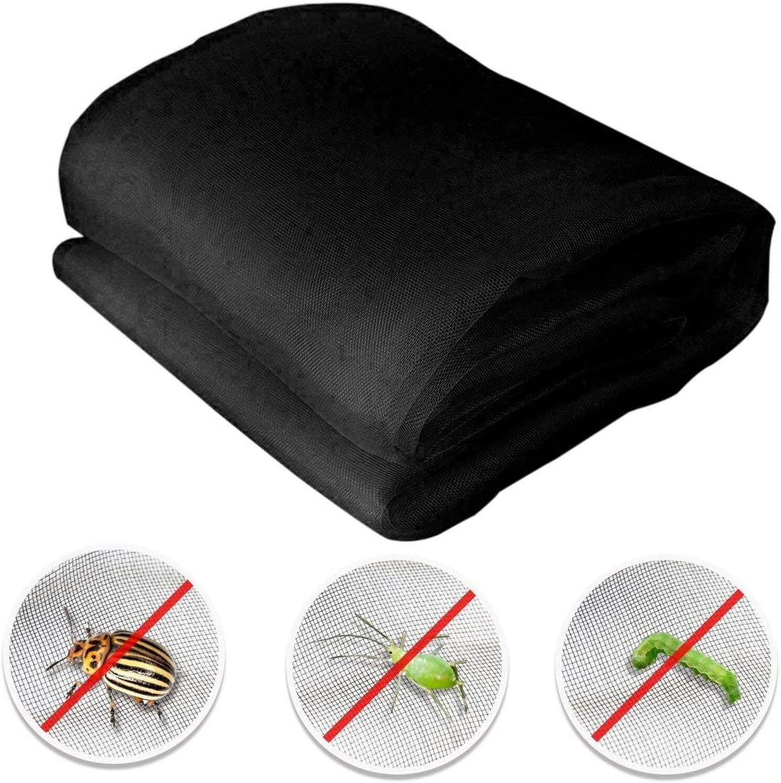 Agfabric 8'x12' Bug Net Insect Bird Netting, Garden Netting Protect Plants Fruits Flowers Against Bugs Birds & Squirrels, Black