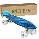 Ancheer Mini-Cruiser-Skateboard 55cm Skateboard mit oder ohne LED Deck,alle mit LED Leuchtrollen,mit USB Kabel aufzuladen