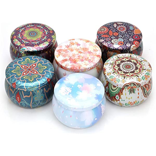 2.76 inches WANDIC Candle Tin Jars 6 Pcs Mixed Color Empty Reusable Tin Cups with Lids DIY Candle Making kit Storage Case for Candy Sweetie Cable Home organizer