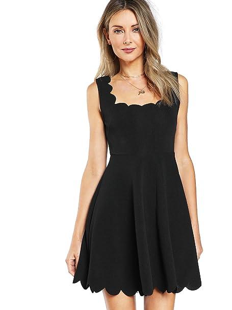 32d43c0722 Verdusa Women s Sleeveless A-Line Fit Flare Elegant Scalloped Dress Black XS