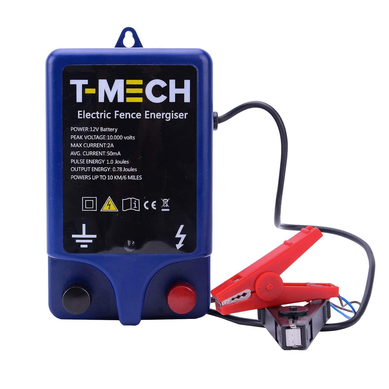 T-Mech Pastor Electrico Batería 12v Cercas Eléctrica Pastor Alimentador de Cercas Eléctricas para Animales 10000V | Caballos |10km para Ave