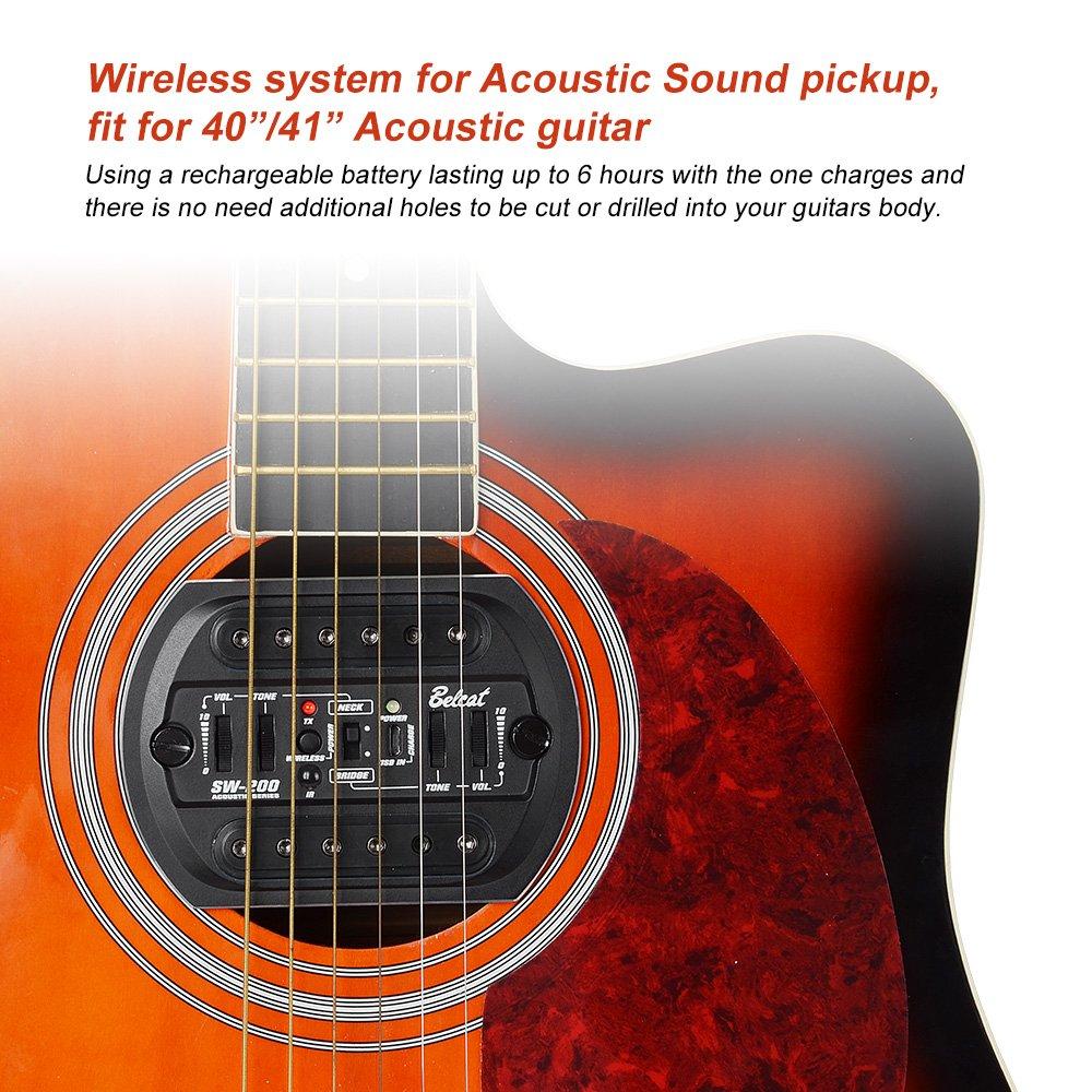 Acoustic Guitar Wireless Wiring Data Schema 00 Circuit Board Pcbag100s 139 Pcbag123s Amazon Com Belcat Sw 200 R 1 Pickup System For Rh Transmitter Amp