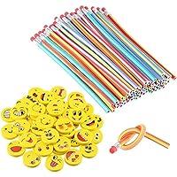 LATERN 80 Piezas Kids Party Bag Set de Relleno, Suave Flexible Bendy lápices y Emoji Smile Erasers Magic Bend Toys…