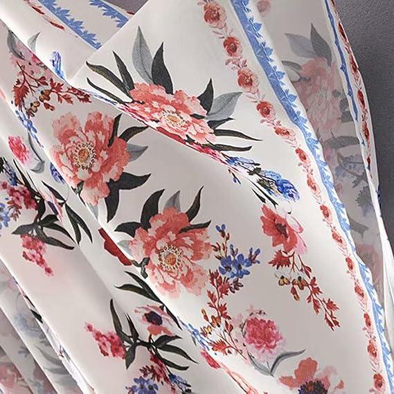 BURFLY Damen Kimono Robe Lang mit Blumenprint Floral Fee Strand ...