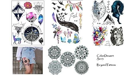 4 hojas tattoo Sticker Mandala Brújula Wolf Muelle Tatuajes Color Dream Set 3
