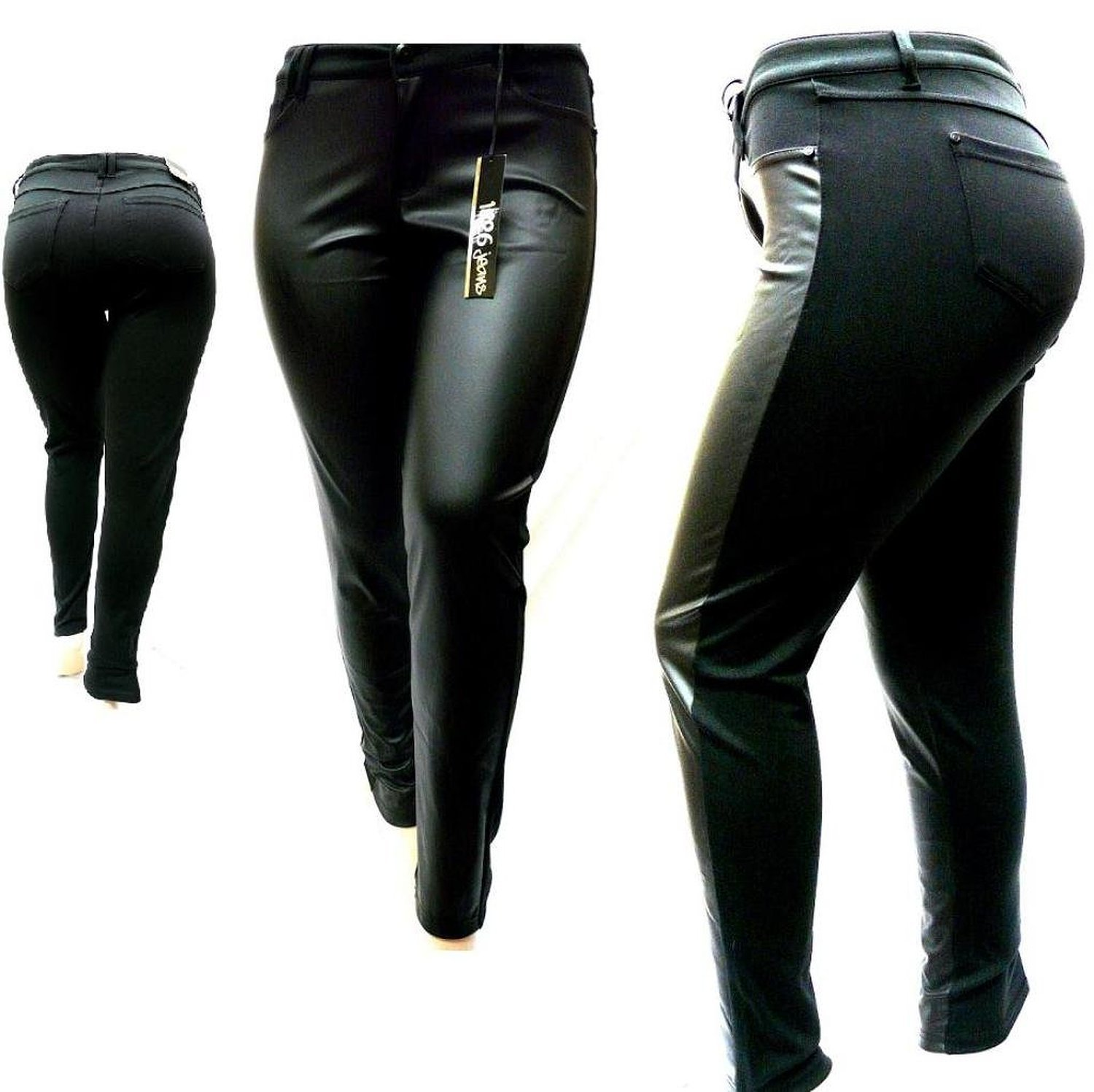 1826 Faux Leather Black Stretch Women's PLUS SIZE SKINNY Ponte/PU PANTS Clubwear (22)