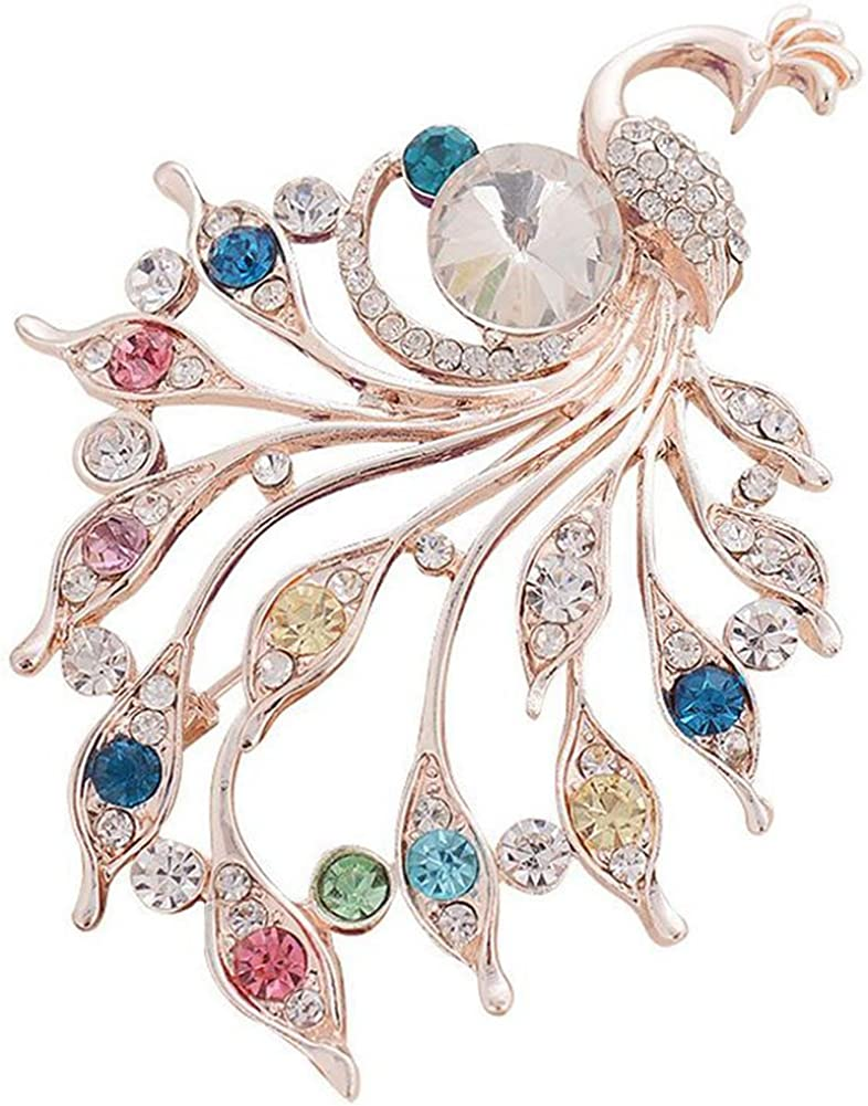 YRUI Brooch Romantic Colorful Peacock Pearls Brooch Rhinestone Covered Scarves Shawl Clip Shining Crystal Jewelry Corsage Decoration for Clothes Gifts