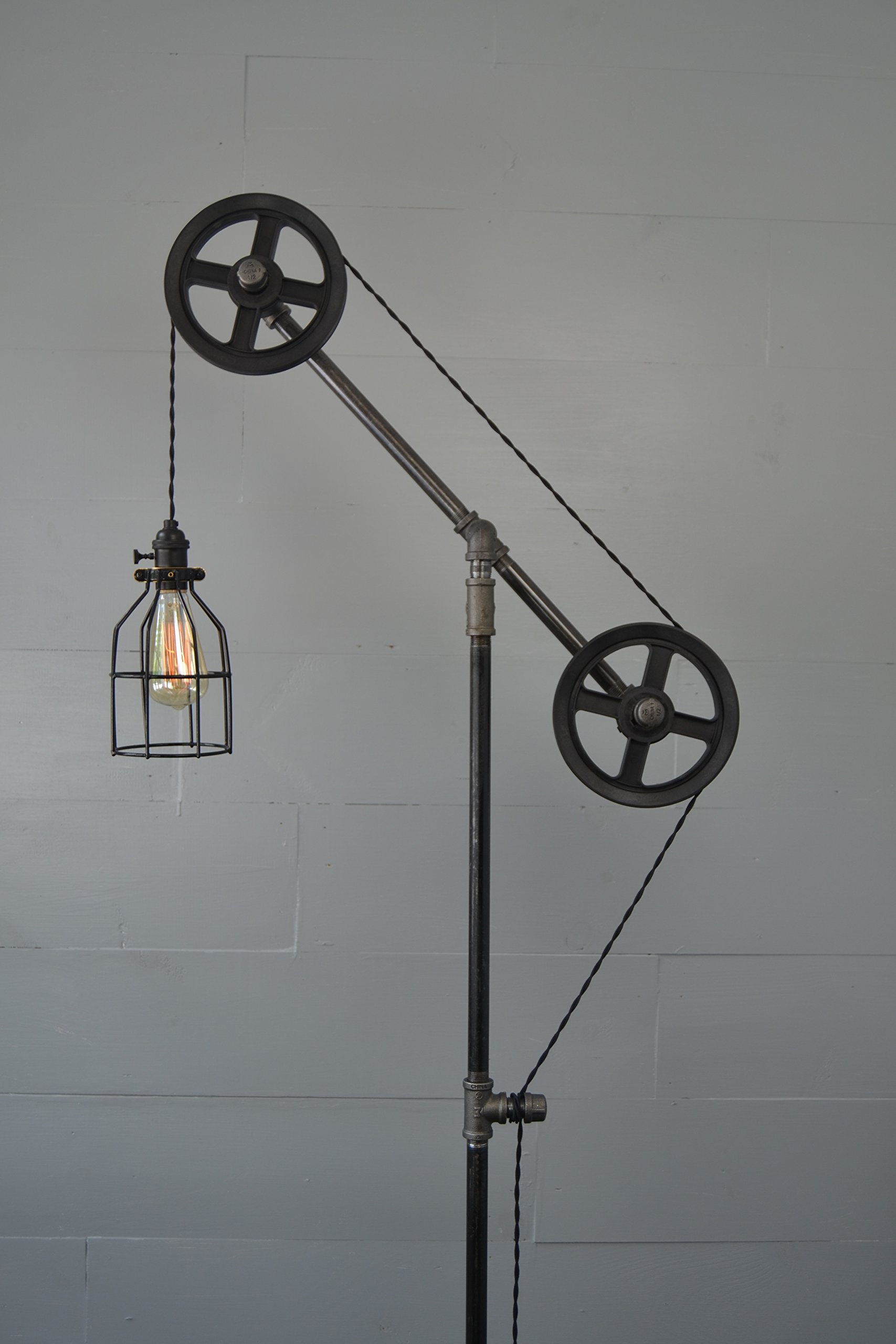 Industrial Floor Lamp (Steel Wheels) by West Ninth Vintage