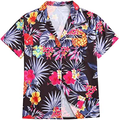 ACEBABY Camisas Hombre Manga Larga Tallas Grandes Botón Vintage Casual Solapa Suelto Estampada Flores Playa Ropa Hombre Verano Fiesta de Bodas Cumpleaños Verano (Negro, XXXXXL): Amazon.es: Ropa y accesorios