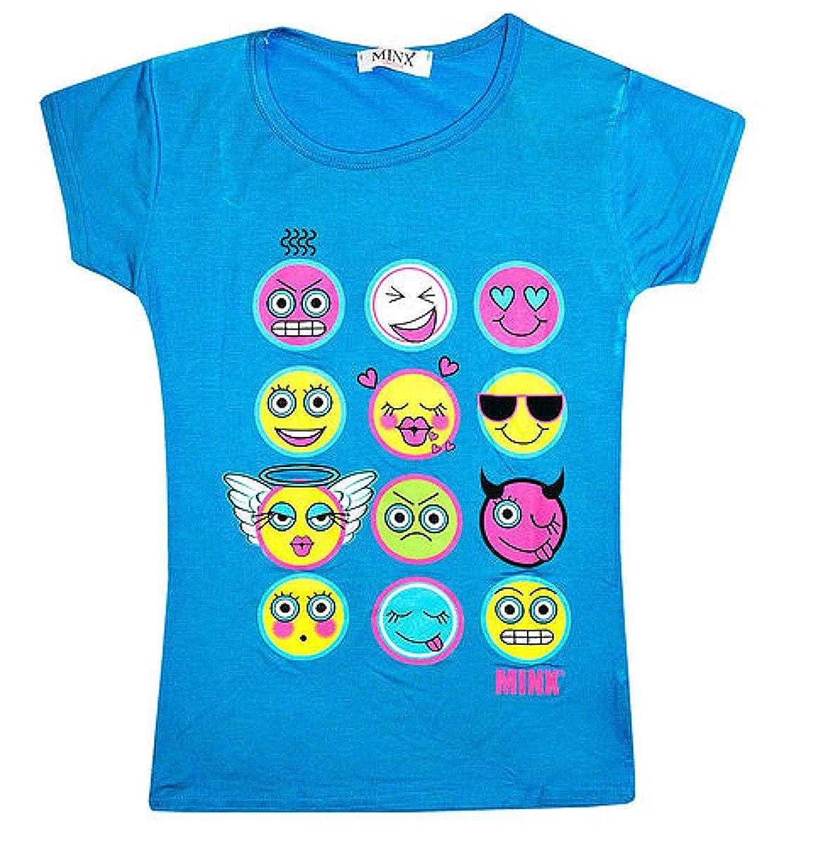 Fashion Oasis Big Girls' Emoji Emoticons Multi Faces Short Sleeve T-Shirts Tops