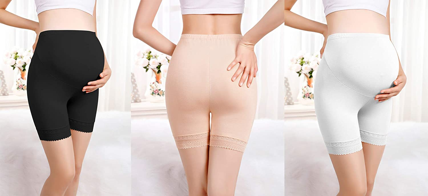 OuYun 2 Pack Womens Soft and Seamless Pregnancy Boyshorts Maternity Shapewear Belly Support