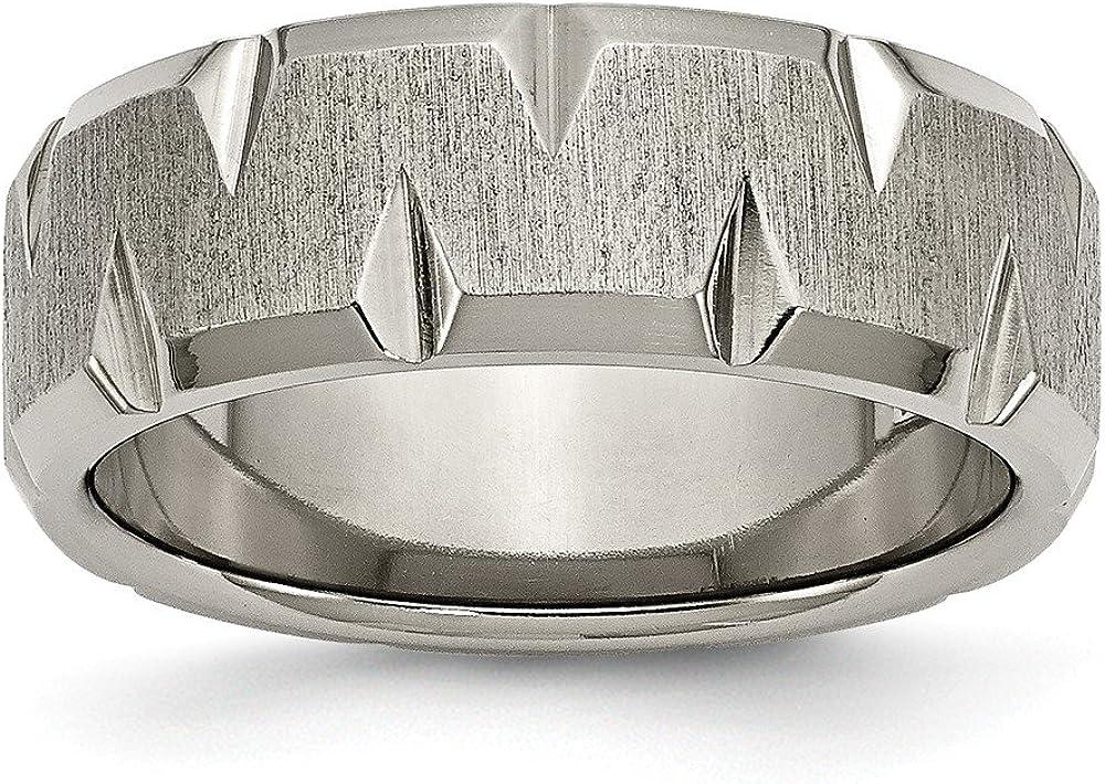 Size Jay Seiler Titanium Beveled Edge Notched 8mm Brushed Band Titanium 7
