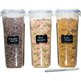 MEKBOK Cereal & Dry Food Storage Container Set of 3 (16.9 Cup / 135.2oz) Airtight + 8 FREE Chalkboard Labels + 1 FREE Liquid