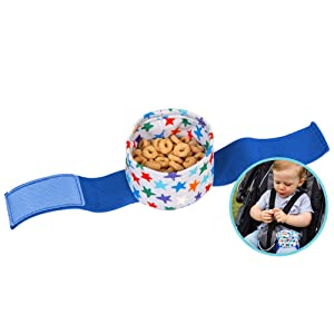 wearabowl by J.L. Childress, Baby & Toddler Snack Cup w/Strap, Attach to Child's in Strollers & Car Seats, Waterproof & Food-Safe PUL Fabric, Twinkle Twinkle