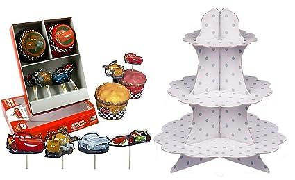 DisneyCars Grandes etagiere/Soporte para Tarta con mudffin Moldes y Muffin Pegatinas, Ideal para