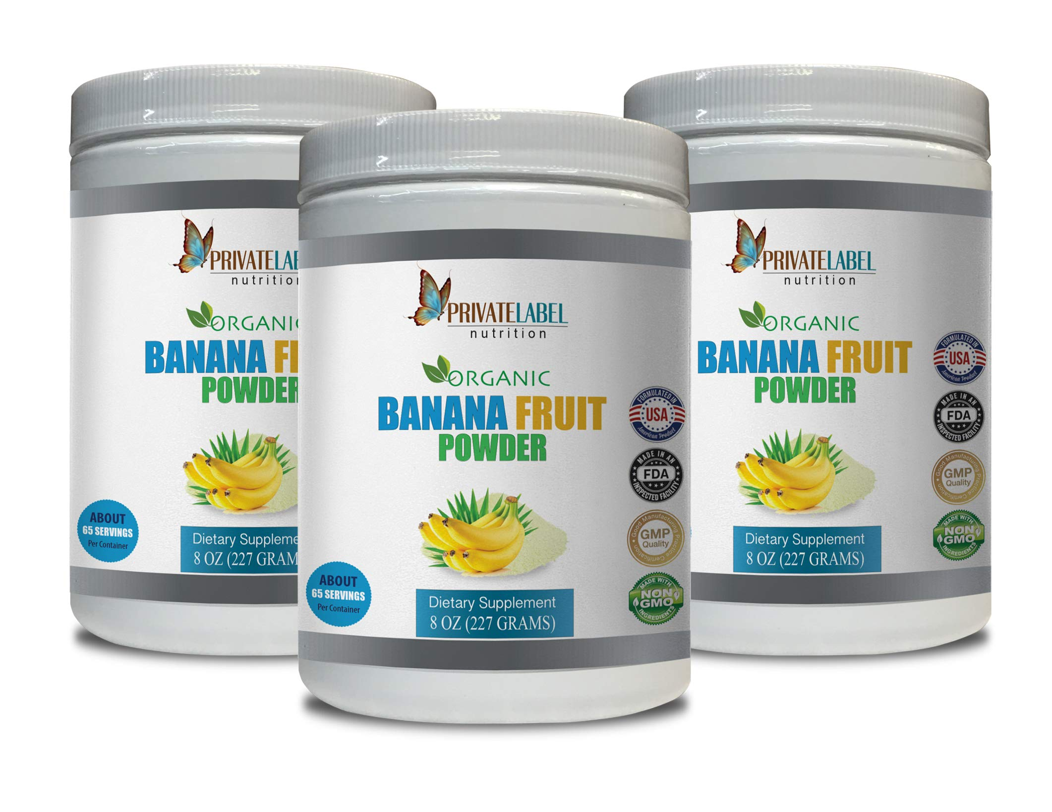 antioxidant Complex Dietary Supplement - Banana Fruit Organic Powder - Digestive Support - 3 Cans 24 OZ (195 Servings)