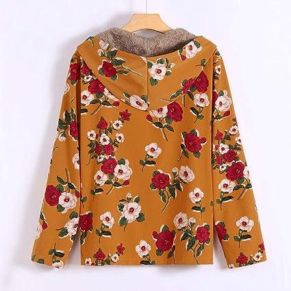 Linlink Chaqueta de Mujeres Invierno Caliente Outwear impresión con Estampado Floral Bolsillos con Capucha Vintage Abrigos de Gran tamaño Retro: Amazon.es: ...