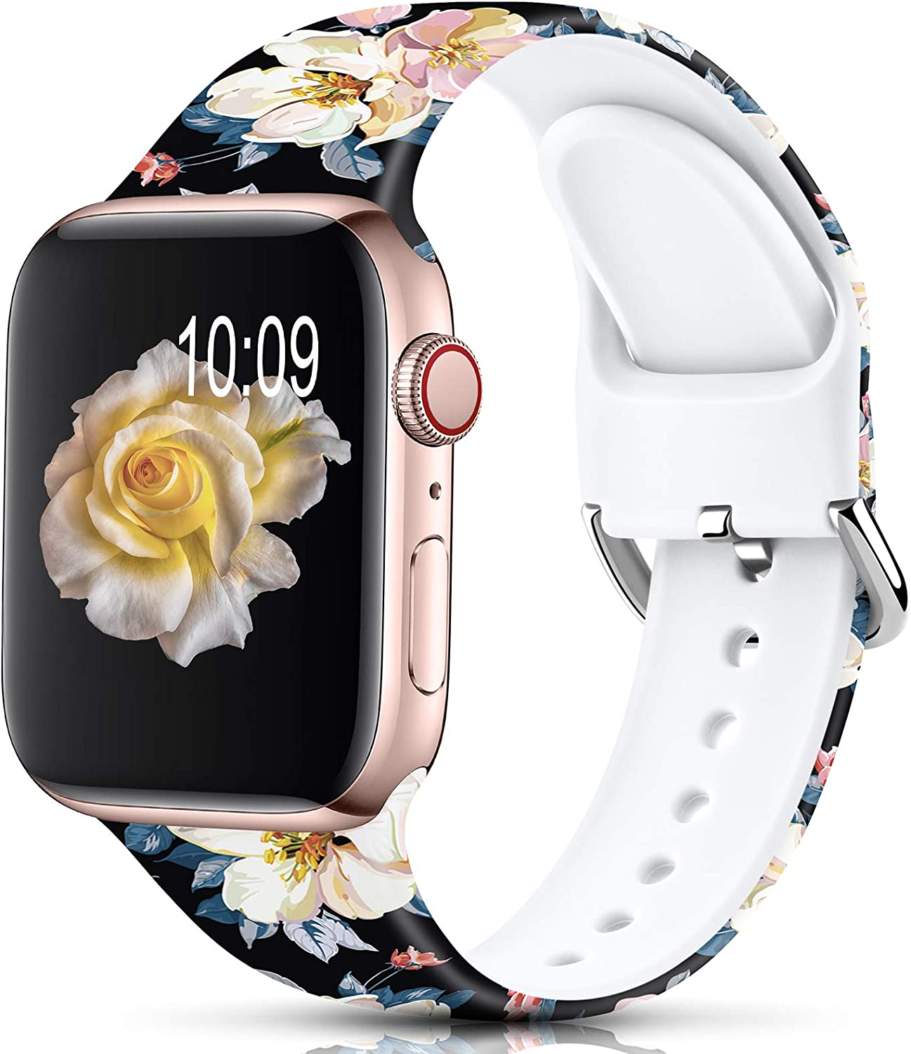 Sport Band Compatible with Apple Watch Bands 38mm 40mm 42mm 44mm for Women Men,Floral Silicone Printed Fadeless Pattern Replacement Strap Band for iWatch Series 3 6 5 4 2 1 SE,Camellia,38/40 mm S/M