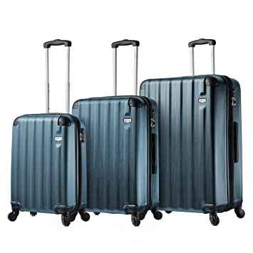 Amazon.com | Viaggi Mia Italy Abruzzo Hardside Spinner 3pc Set-Blue | Luggage Sets