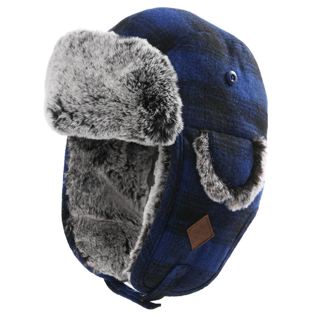Unisex trooper trapper hat warm thick faux fur mens winter hats for womens earflaps  hunting hat c01c130d196f