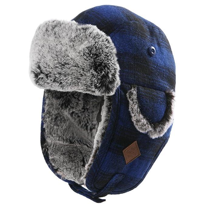 9e6deb061ec SIGGI Trapper Hat Aviator Earflap Hat Faux Fur Warm Winter Hat for Women  Men Pilot Soviet