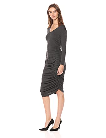 Norma Kamali Women s Long Sleeve V Neck Shirred Dress at Amazon Women s  Clothing store  3f085423b
