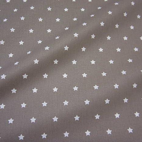 Stoff Meterware Wasserdicht Sterne Taupe Beige Wachstuch
