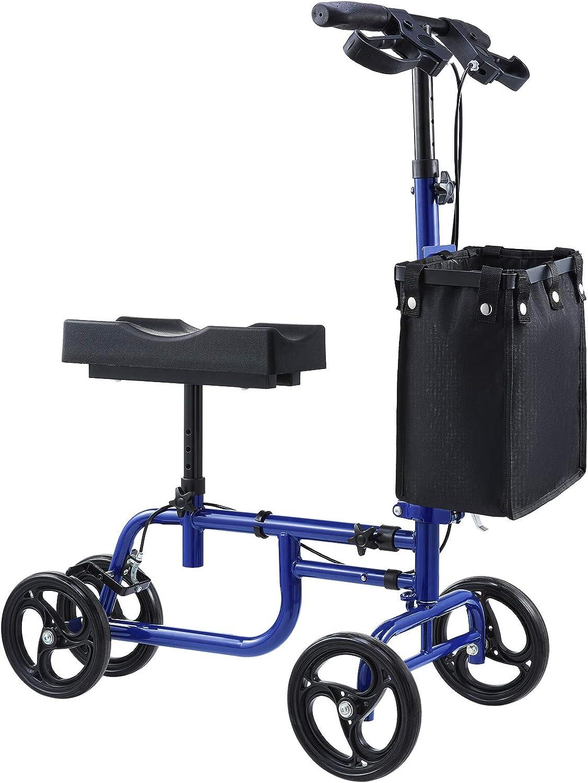 VONOYA Accesorios para Andadores con Ruedas de Doble Frenos Andador de Rodilla Alternativa a las Muletass Medical Knee Walker Scooter Ajustable con Capaciad 158KG para Discapacitados (azul)