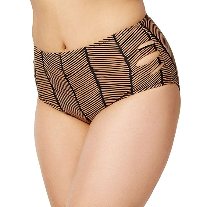 3a44ec612d2 Amazon.com  Raisins Curve Plus Size Maharani Printed Cutout Mid-Rise Bikini  Bottom  Clothing