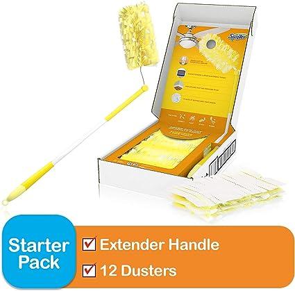 6 Heavy Duty Refills Swiffer Duster Super Extender Handle Starter Kit